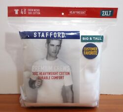 Stafford 4-pack Menand039s Big And Tall Heavyweight Cotton Crew-neck T-shirts White