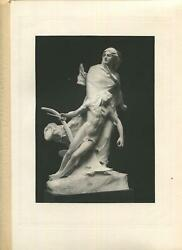 ANTIQUE MONUMENT TO THE SONS OF LE GARD IN PLASTER WOMAN NUDE MAN SWORD PRINT