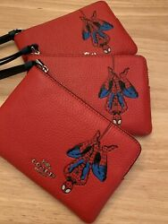 NWT COACH 3583 Marvel with Spider Man Wristlet Pouch Bag Leather $88 $56.80