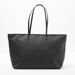 Pre-owned Fendi 8bh185 Zucca Tote Bag Black Leather Pvc Free Shipping