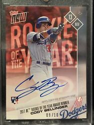 Cody Bellinger Rc Autograph 2017 Topps Now Os-65a Rookie Of The Year Auto 9/10