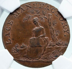 1794 England Bedfordshire - Leighton Girl Tree Conder 1/2 Penny Ngc Coin I86687