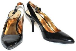 Coach Angela Black Patent Leather Pointed Toe Slingback Shoes Size 8.5B