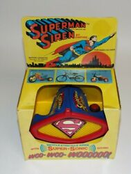 Vintage Empire Dc Comics Superman Bike Bicycle Siren Battery Operated 1971 Rare