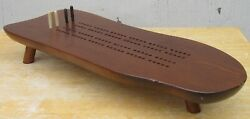 Vintage Cornwall Wood Products Mid Century Modern Cribbage Board Table W/ 3 Legs
