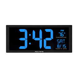 AcuRite 75152M Oversized Blue LED Clock with Indoor Temperature Date and Stand