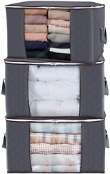 Large Capacity Clothes Storage Bag Organizer 3 Pack 90L Grey