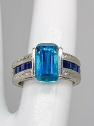 Wachler Signed 20000 13ct Natural Blue Zircon Sapphire Platinum Band Ring 16g