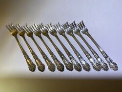 French Renaissance Sterling Silver Seafood Forks 10 Available