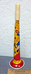 Vintage Us Metal Toy Company Noise Maker Tin Horn, Dancers, Colorful Graphics