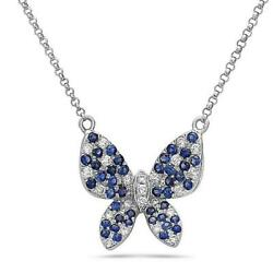 Large Diamond Blue Sapphire 14kt White Gold Hanging Butterfly Necklace Nk11805