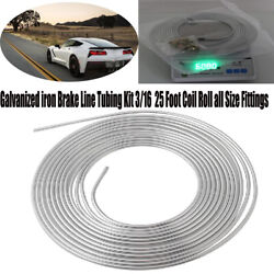 Galvanized Iron Brake Line Kit 3/16 25 Foot Coil Roll All Size Fitting Universal