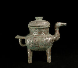 Old China Bronze Ware Silver-plate Dynasty Palace Portable Duck Zun Wine Pot