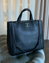 VERIFIED Authentic CHANEL Black Quilted Caviar Leather Shopper Tote Bag $2299.00