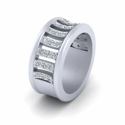 Solid White Gold Wedding Band For Her 0.60cttw Diamond Engagement Band For Women