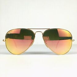 Preowned Ray Ban Aviator Pink Lens Polished Gold Sunglasses RB3025 58mm BG01 $29.98