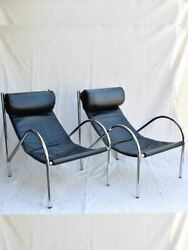 Pair Of 1950's Black Leather And Chrome Armchairs In The Style Of Le Corbusier C