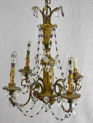 1940's French Chandelier With Four Lights. Clear And Violet Pendants. 19¼ X 18