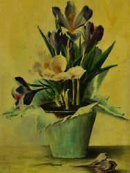 Antique French Still Life - Crocus Flowers In A Pot. Oil On Canvas Signed. 25andfrac14