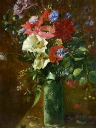 Antique French Still Life Floral Bouquet With Poppies And Cornflower Blooms Signed