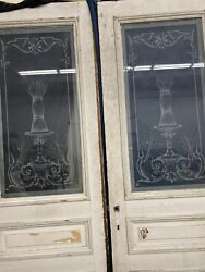 Old Victorian Style Etched Glass Double Doors Bushels Of Wheat 94x66