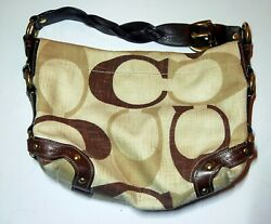 AUTHENTIC COACH CARLY HOBO CREAM BROWN CANVAS W BROWN LEATHER BAG A0826 12197 $25.99