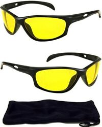 HD Night Vision Sun Glasses AVIATOR Yellow Driving Lens Sunglasses New FREE CASE $5.95