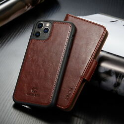 For iPhone 12 Pro Max Mini Leather Case Removable Card Wallet Magnetic Cover