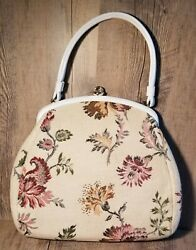 Vintage 1950s Theodor White Faux Leather Trim Needlepoint Clutch Purse