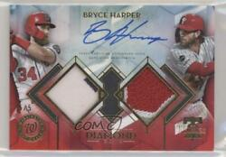 2020 Topps Diamond Icons Single Player Dual Team Relics Red /5 Bryce Harper Auto