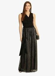 Phase Eight Jean Wrap Pleated Maxi Black Pewter Evening Occasion Dress Size 14 GBP 44.99