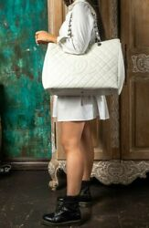 VERIFIED Authentic CHANEL Quilted Caviar Leather XXL GST Grand Shopping Tote Bag $2599.00