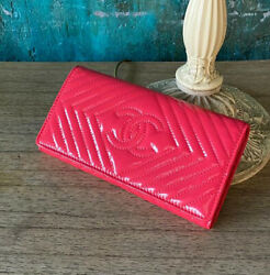 VERIFIED Authentic CHANEL Pink Quilted Patent Leather Long Wallet Clutch Bag $899.00