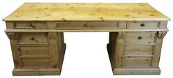 Garcia Natural Carved Pine Executive Office Desk Library Table Rustic Old World