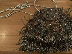 Vintage Beautiful Bronze Evening Bag With Fringe With Round Handle And Chain $23.00