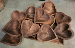 Lot Of 20 Carved Wooden Heart Shaped Dough Bowl Primitive Wood Trencher 11-14
