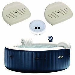 Intex Purespa Inflatable 6 Person Hot Tub, Battery Led Light, Spa Seat 2 Pack