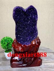 43 Cm Natural Amethyst Crystal Lucky Feng Shui Specimen Energy Heal Statue F198