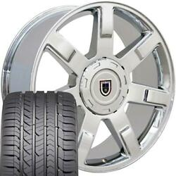 22x9 Wheel And Tire Fits Chevy Gm Escalade Chrome Rims Gy Tires 5309 Cp