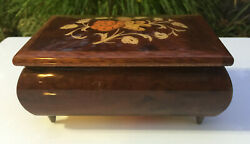 Lacquered Floral Inlay Wood Italian Jewelry/trinket Swiss Music Box