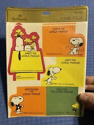 Peanuts Gang Snoopy Woodstock Hallmark Vintage Name Tags Seals Labels Stickers