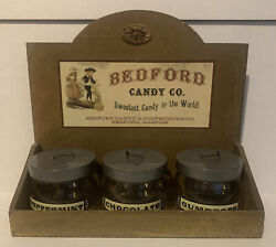 Bedford Candy Company Advertisement Store Display With Candy Jars Table Shelf