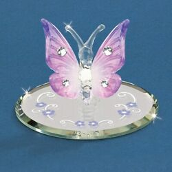 Glass Baron Lavender Butterfly W/crystals Figurine