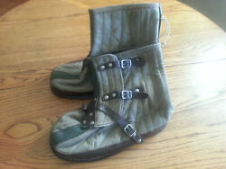 Vintage Swedish Military Surplus Canvas / Wool / Leather Over Boots - Excellent