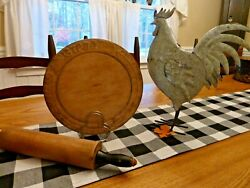 Antique English Wooden Bread Cutting Board Hand Carved Flower And Leaf Border