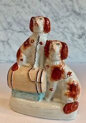 Antique Staffordshire Spaniels Dogs On A Barrel 8.5 19th Century