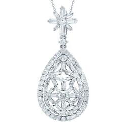 18k White Gold Diamond Teardrop Pear Necklace Round Baguette 1.86ct Certified