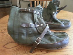 Vintage Swedish Military Surplus Canvas / Wool / Leather Over Boots - Great