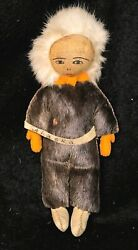 Antique Alaskan Inuit Doll - Seal Skin And Leather -native American Souvenir
