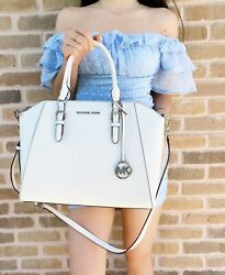 Michael Kors Ciara Large Top Zip Satchel Optic White Saffiano Leather Crossbody $124.00